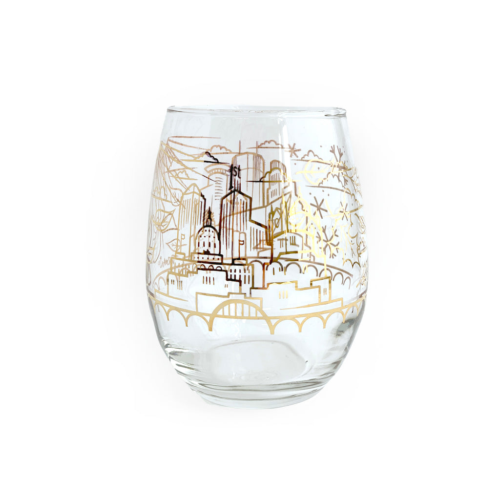 Skyline Gold Foil Wine Glass