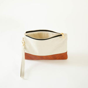 Classic Cream Canvas Wristlet