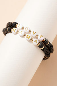 Love Mama Rubber Beaded Bracelet Set