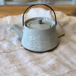 Grey Debossed Stoneware Teapot