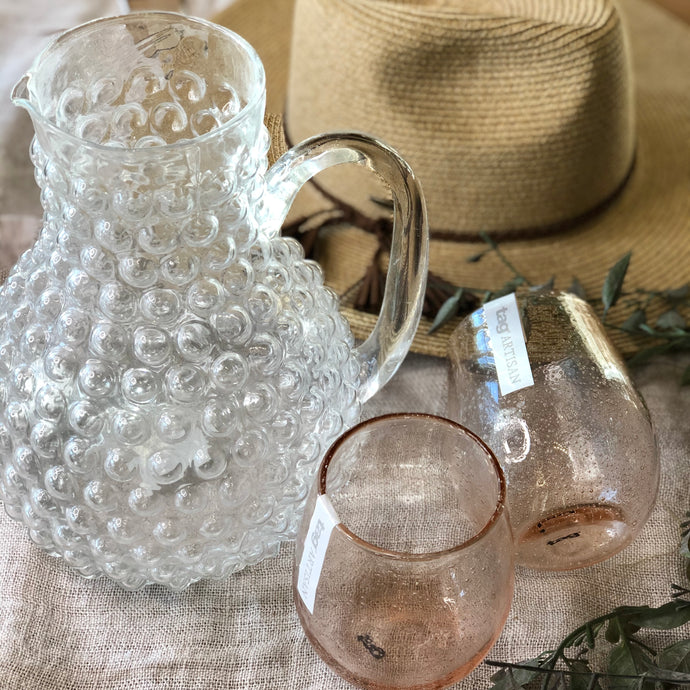 Clear Glass Hobnail Pitcher 9.5 Inch