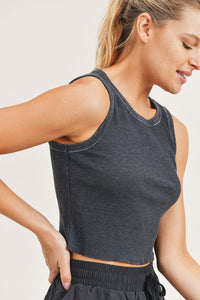 Ribbed Mineral Wash Cropped Tank