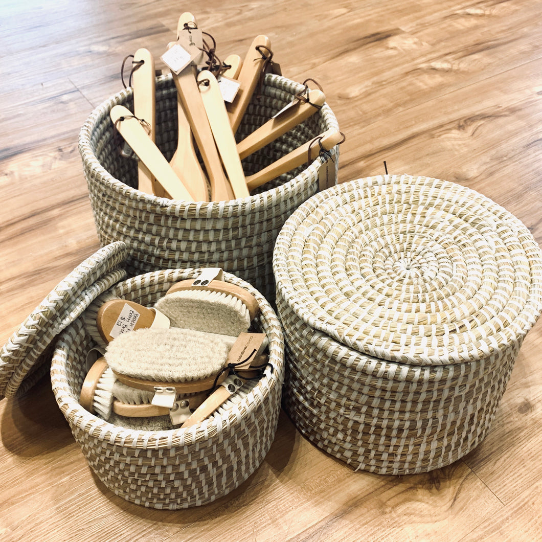 Whitewashed Seagrass Baskets