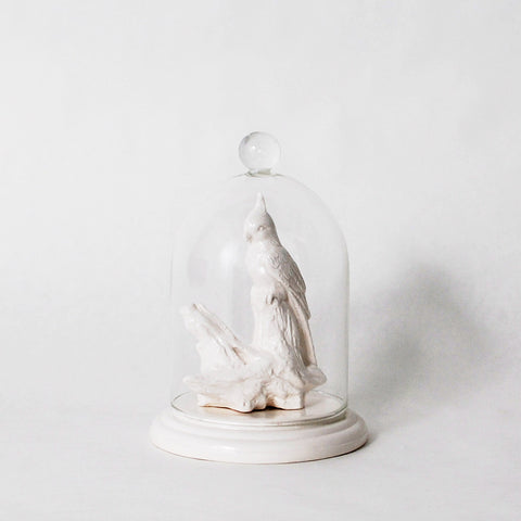 Bells of the Ball Bird on Driftwood Bell Jar Ring Holder