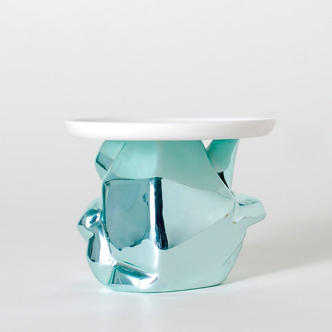 Candy Rock Blue Crystal Cupcake Plate