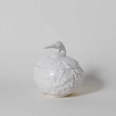 Feathered Nest Heron Ceramic Canister