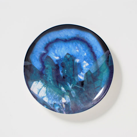 Luminous Blue Geode Ring Holder Dish