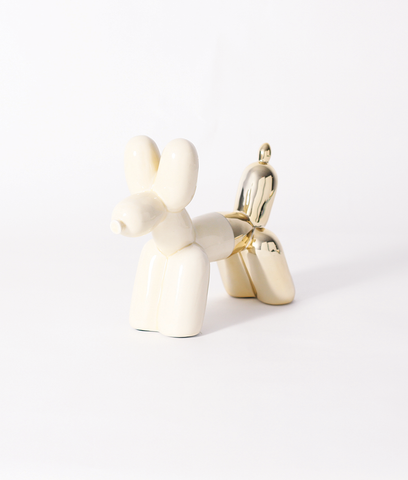 Big Top Ceramic Balloon Dog Bookend - Cream & Gold