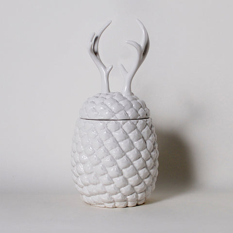 The Cha Cha Chas Pineapple Deer Antlers Ceramic Canister