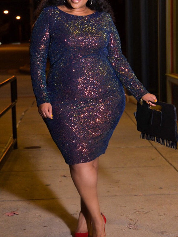 Skinny Long Sleeve Color Sequins Plus Size Dress