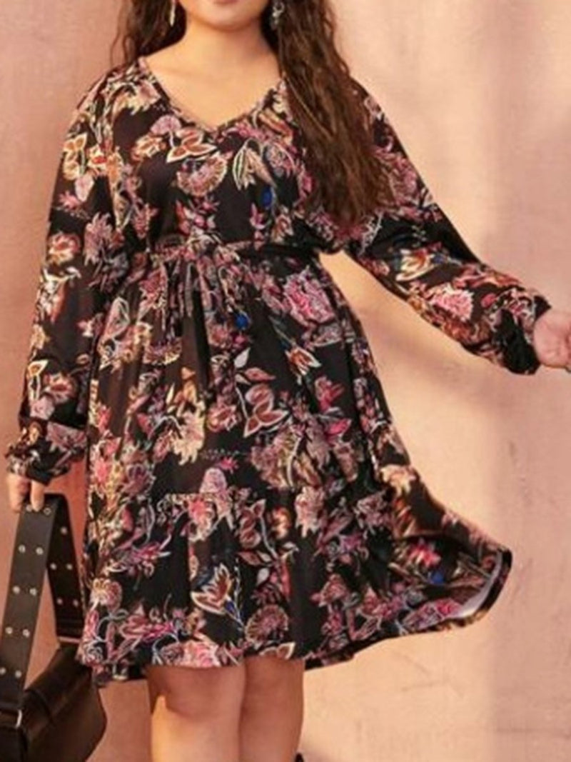 V-neck Long-sleeved Lace-up Print Plus Size Dress