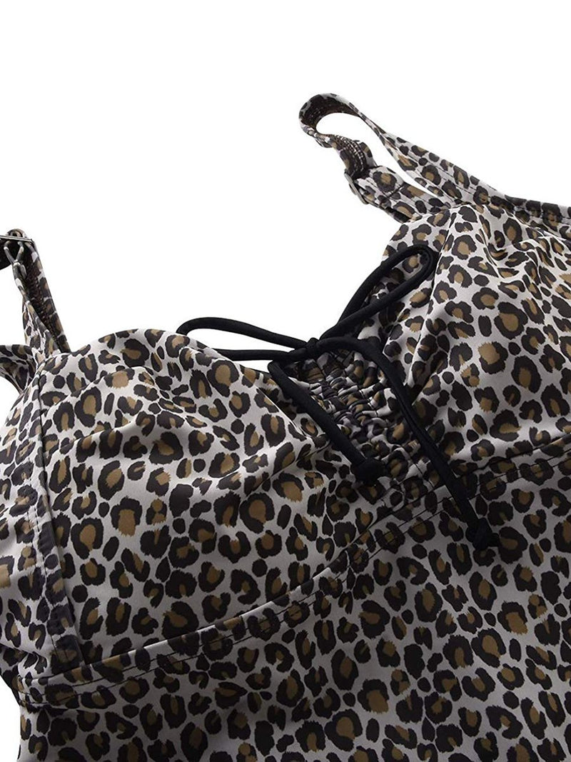 Leopard Fashion Sexy Plus Size Split Ladies Swimwear