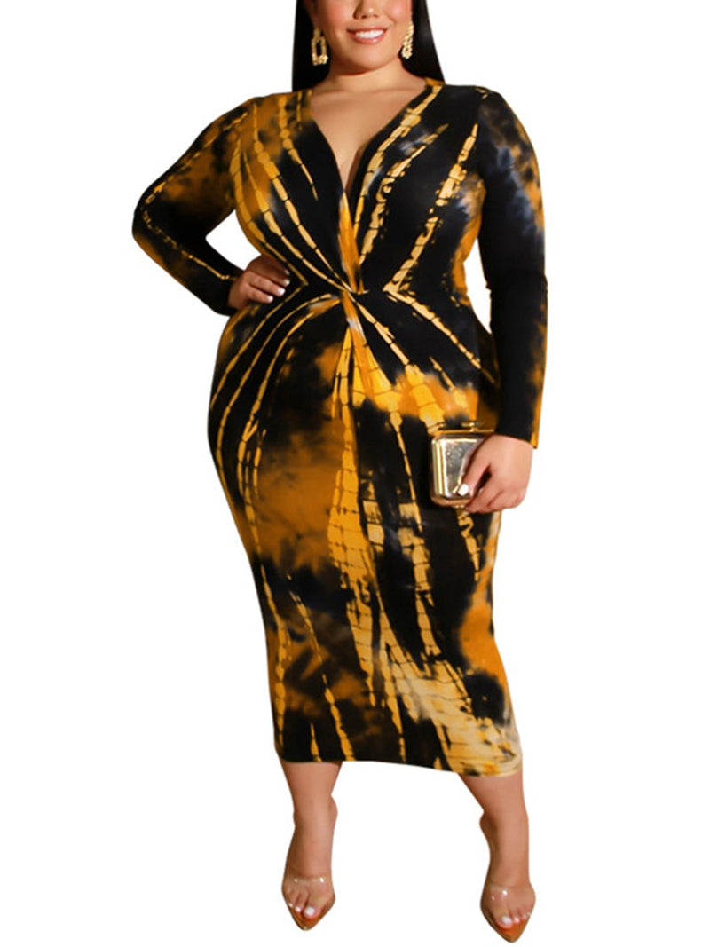 Tie-Dye Printed V-Neck Sexy Long Plus Size Dress
