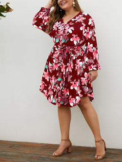 Plus Size Red Printed V-neck Long Sleeve Mini Dress