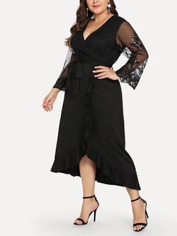 Plus Size Ruffled Skirt Knitted Maxi Dress