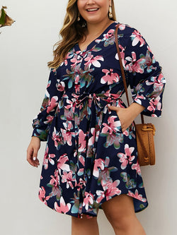 Plus Size Navy Printed V-neck Long Sleeve Mini Dress