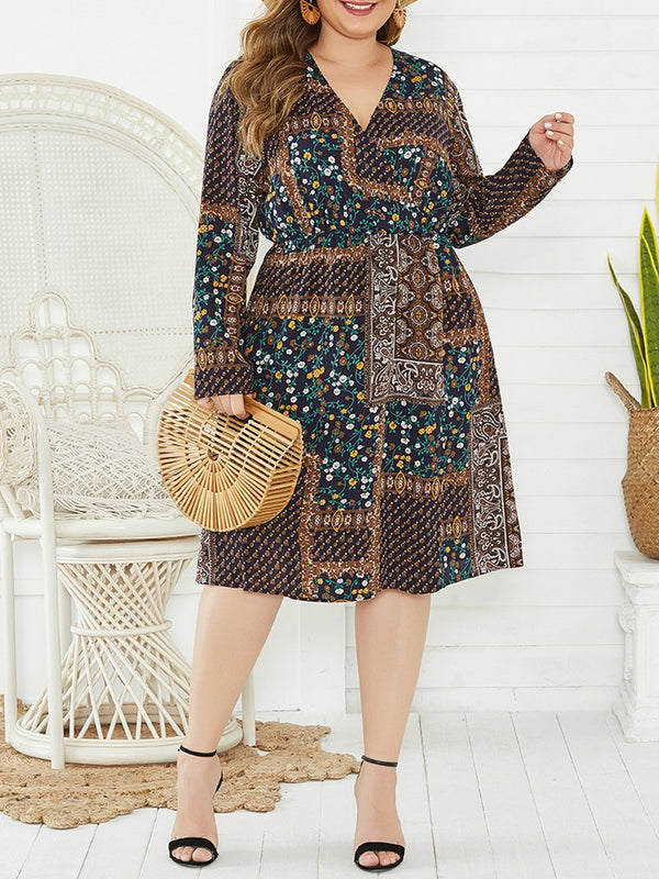 Plus Size Long Sleeved V-neck Print Long Midi Dress
