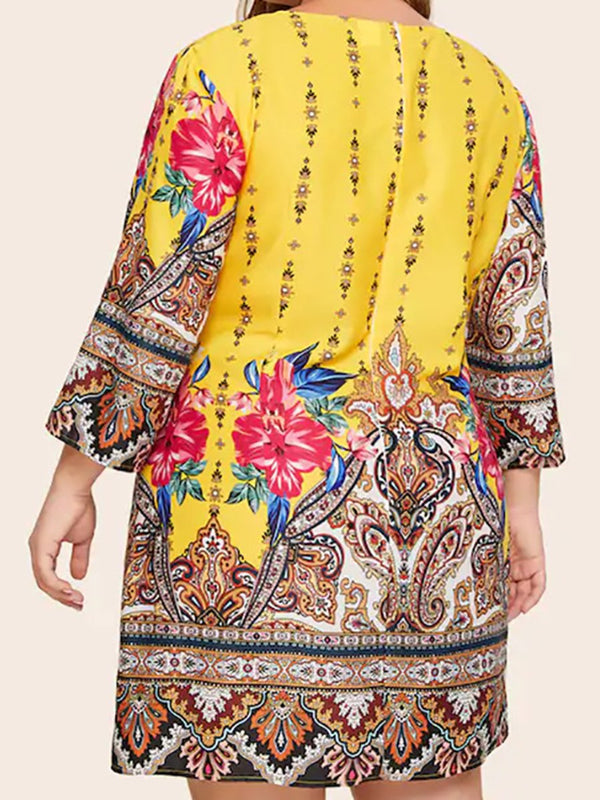 Plus Size Round Neck Boho Print Casual Mini Dress