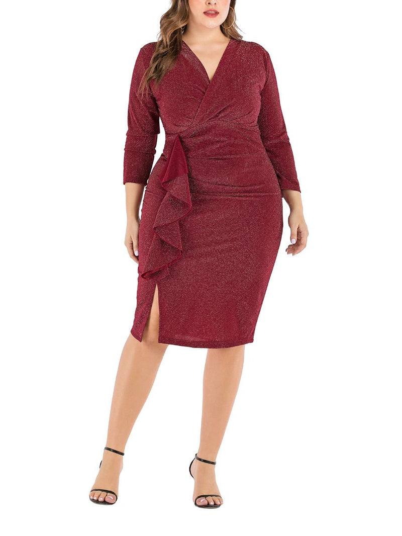 V-Neck Long-Sleeved Waist Pack Hip Dress