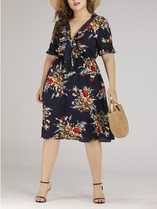 Plus Size A Word Casual Sexy Floral Midi Dresses