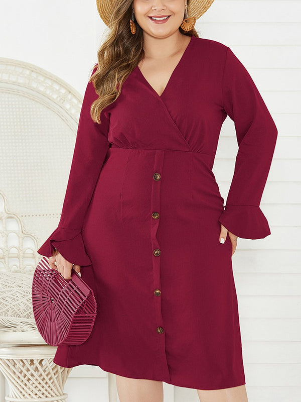 V-Neck Solid Color Long-Sleeved Dress