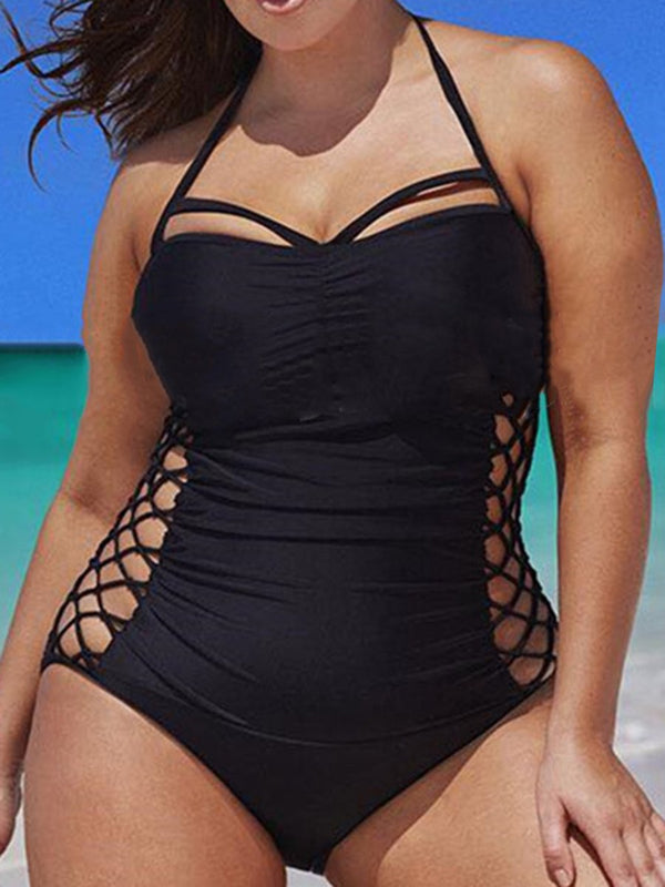 Sexy Solid Color Hollow Out One Piece Plus Size Swimwear