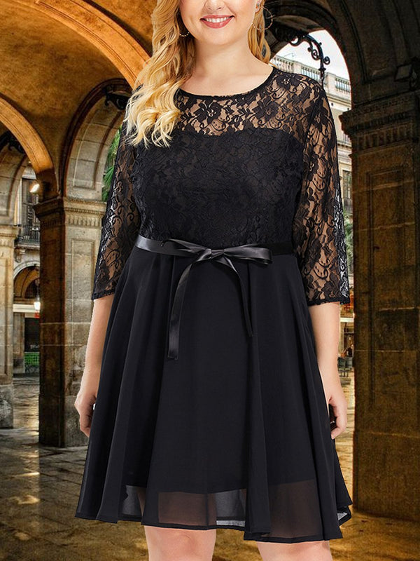 Lace-Paneled Long-Sleeved Dress