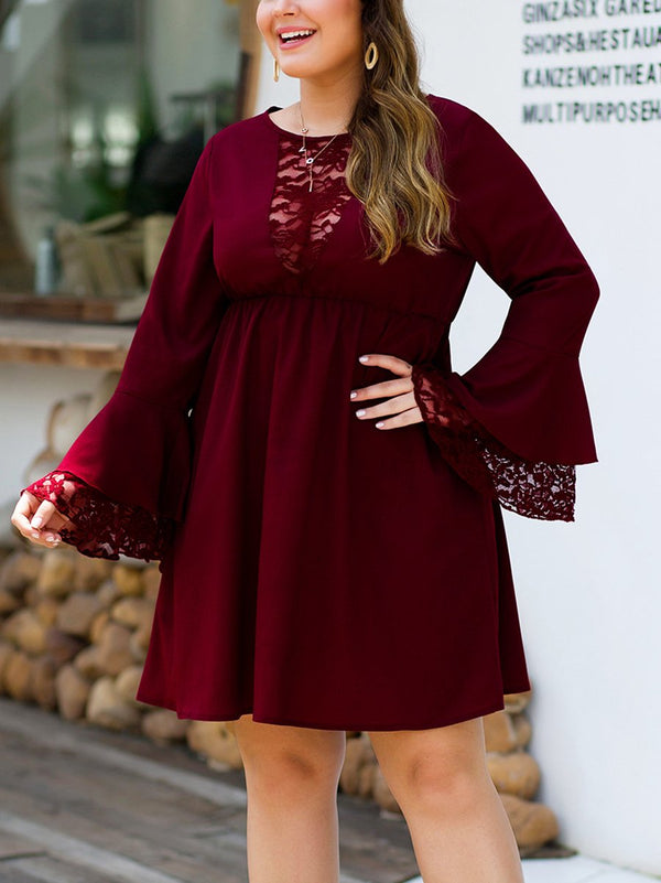 Lace Stitching Bell Sleeves High Waist Skirt