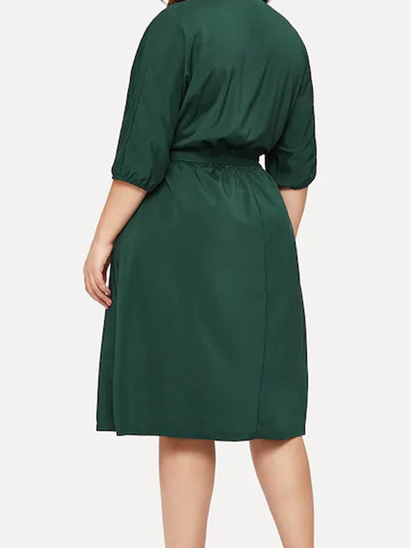 Solid Color Chiffon Five-Sleeve V-Neck Dress