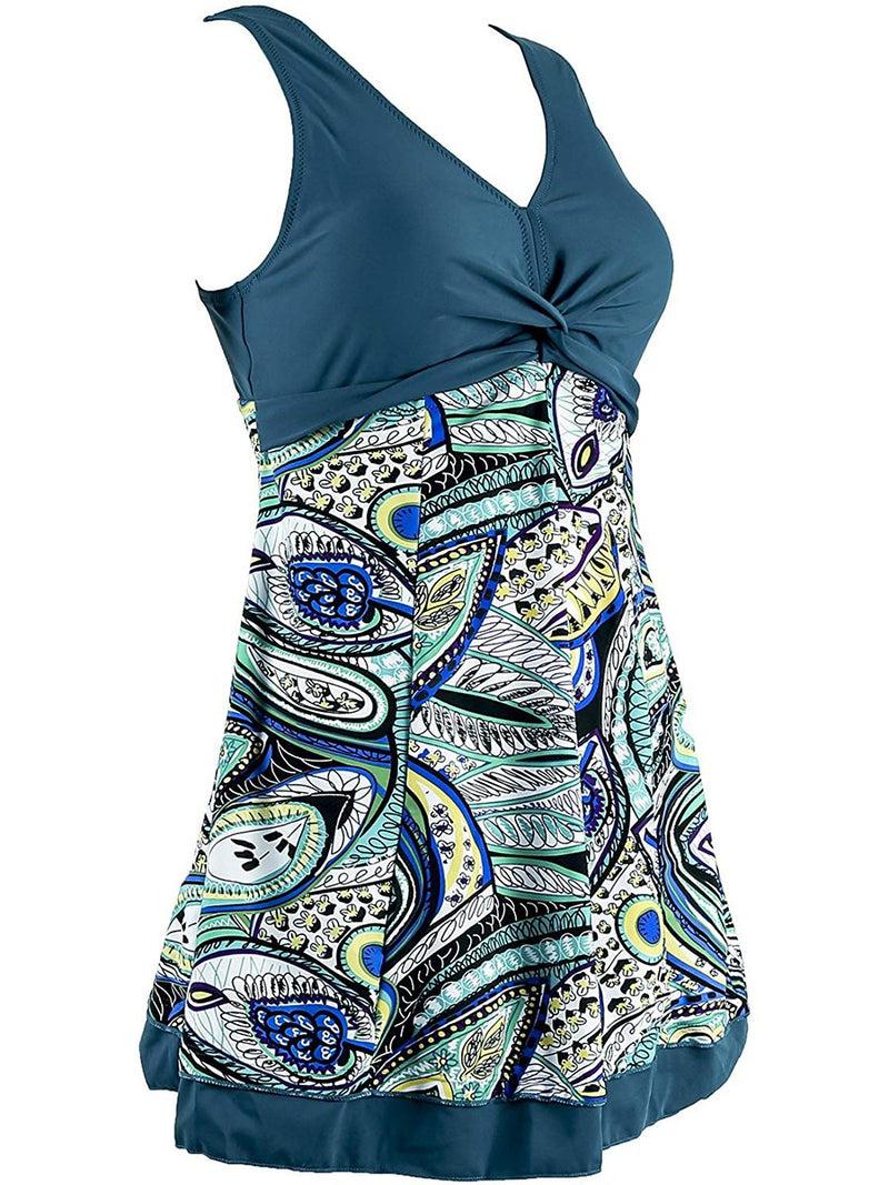 Printed Stitching One-piece Swimsuit