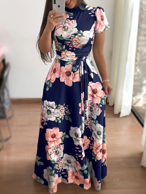 Plus Size Flower Print Dress Short Sleeve Bowknot Casual Dress