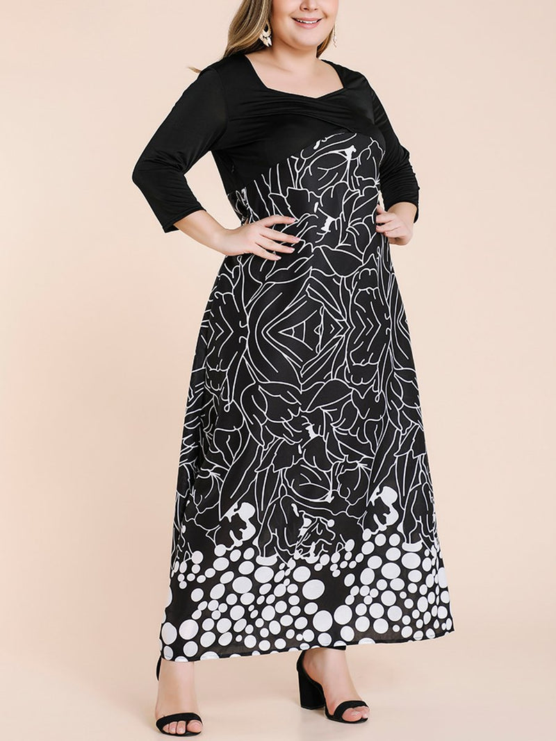 Printed Sexy Plus Size Maxi Dresses