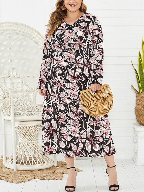 Plus Size V-neck Split Print Maxi Dress