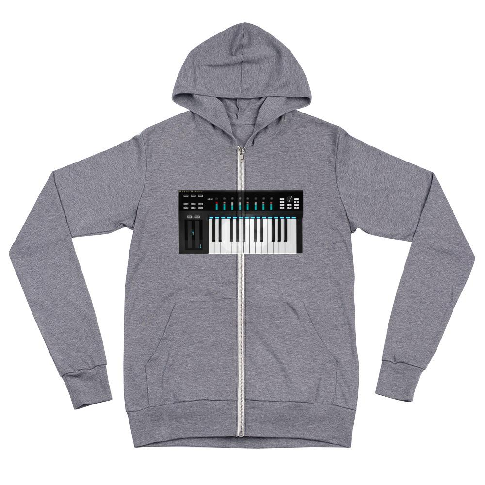 The World of T's Zipper Hoodie Grey Triblend / XS Midi Controller Zipper Hoodie
