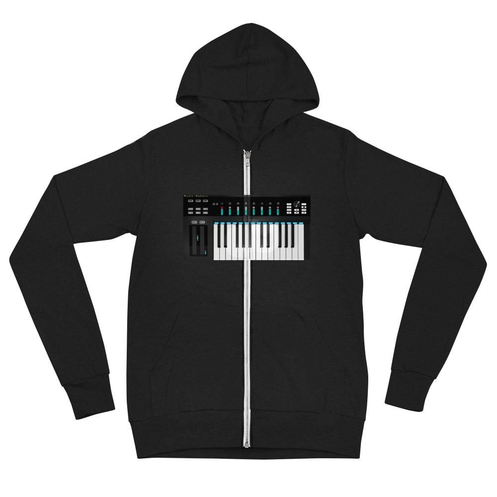 The World of T's Zipper Hoodie Solid Black Triblend / XS Midi Controller Zipper Hoodie