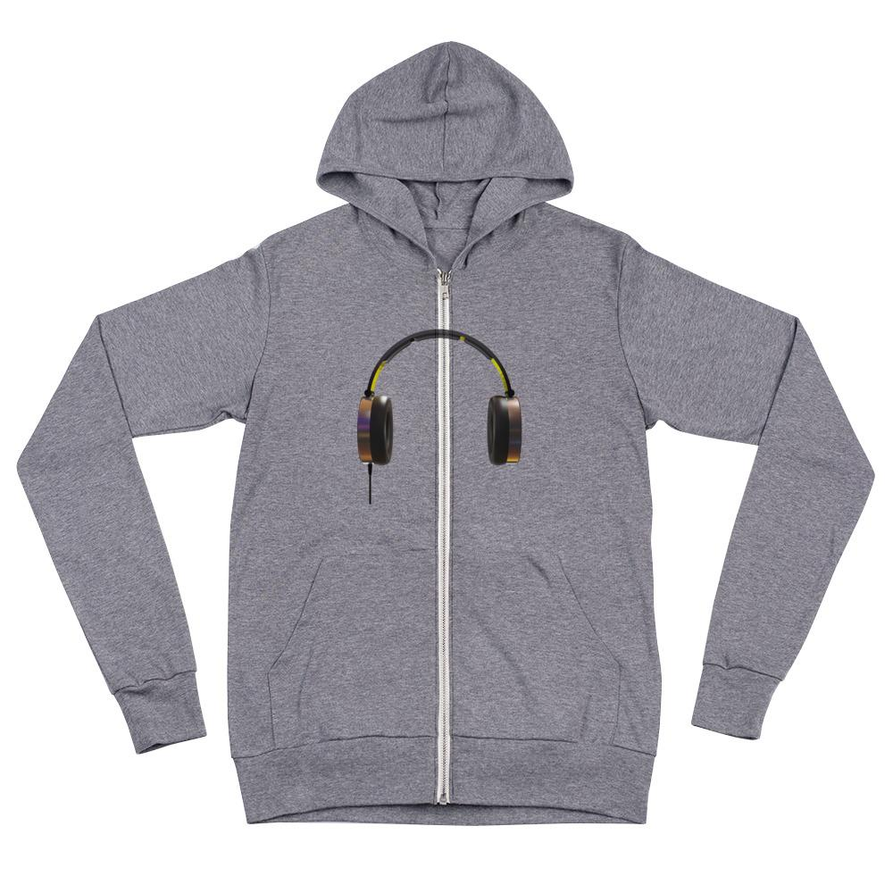 The World of T's Zipper Hoodie Grey Triblend / XS Women's Headphone zip hoodie