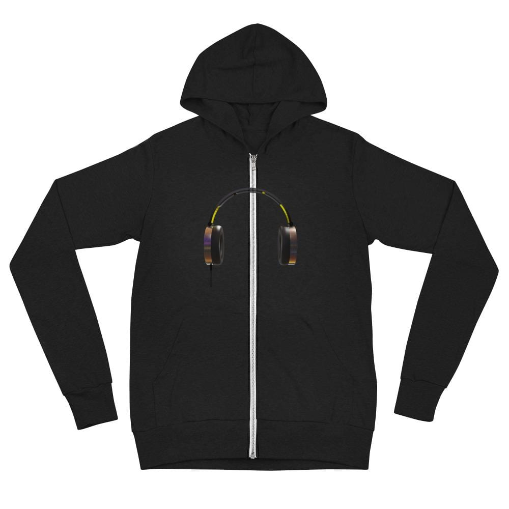 The World of T's Zipper Hoodie Solid Black Triblend / XS Women's Headphone zip hoodie