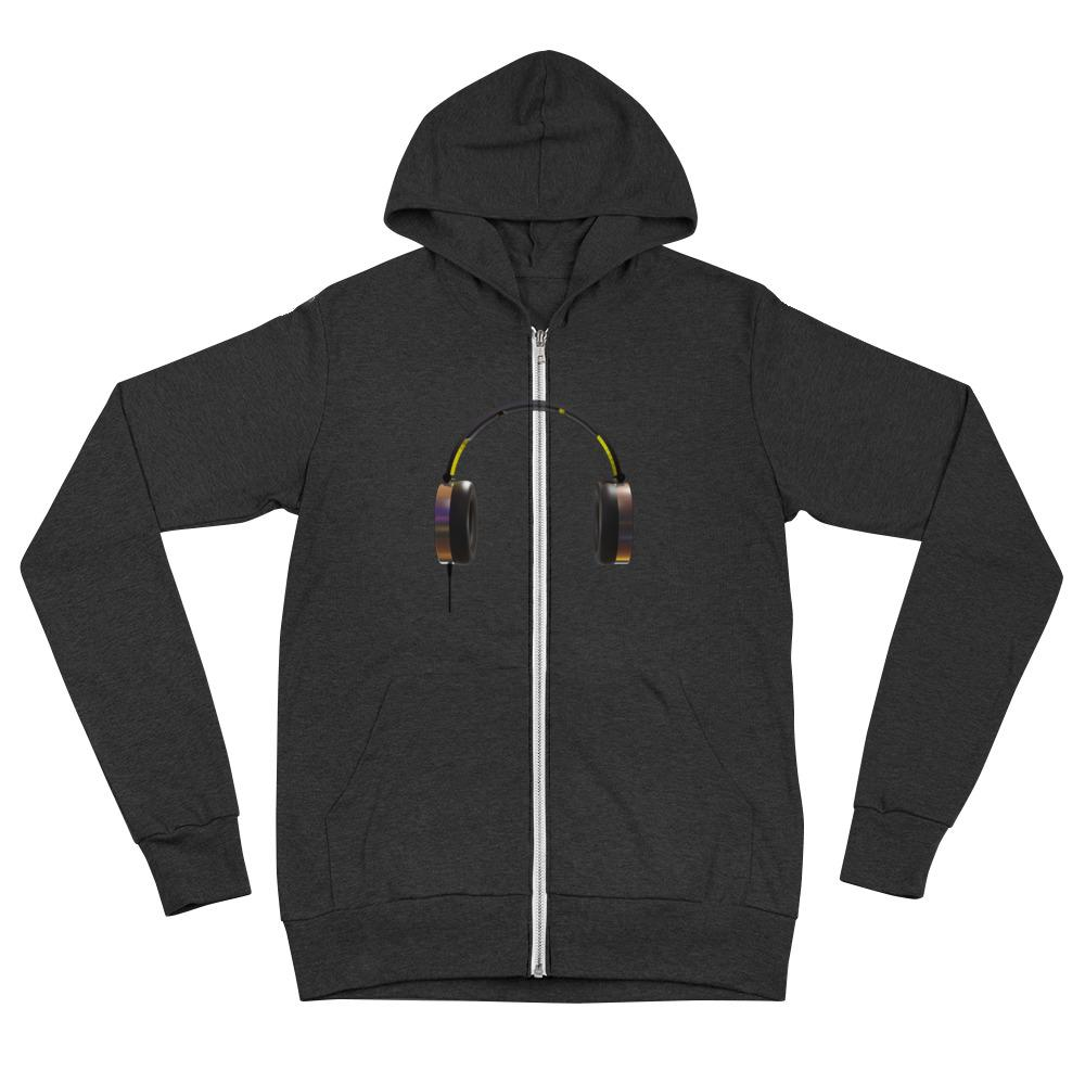 The World of T's Zipper Hoodie Charcoal Black Triblend / XS Women's Headphone zip hoodie