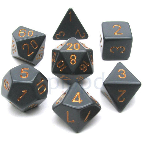CHESSEX 7-DIE SET: OPAQUE GREY/COPPER