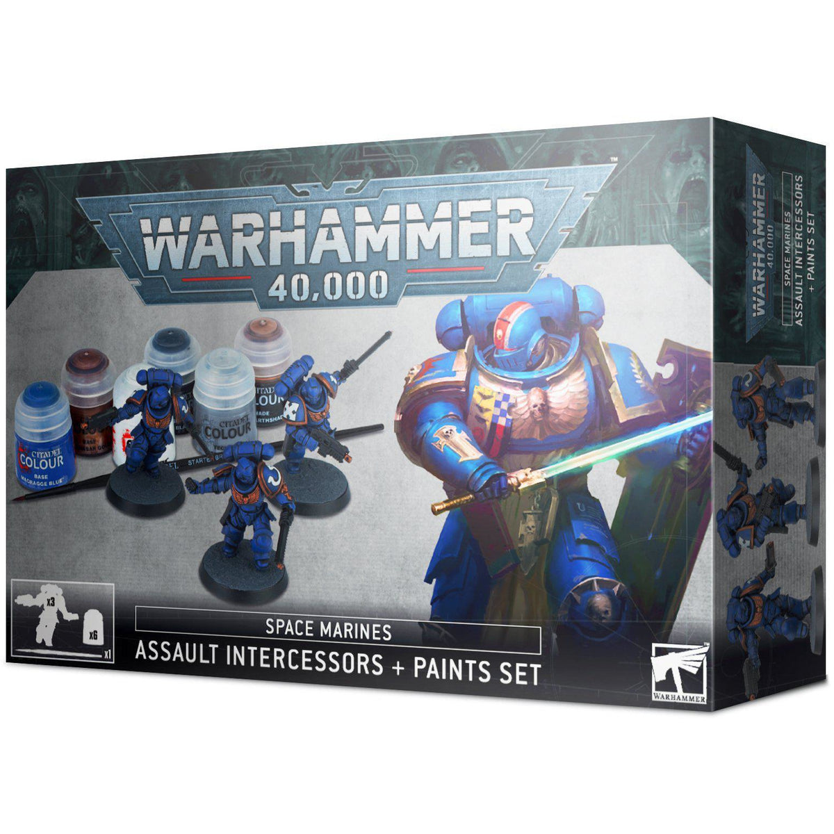 WARHAMMER 40K - SPACE MARINES ASSAULT INTERCESSOR + PAINT SET