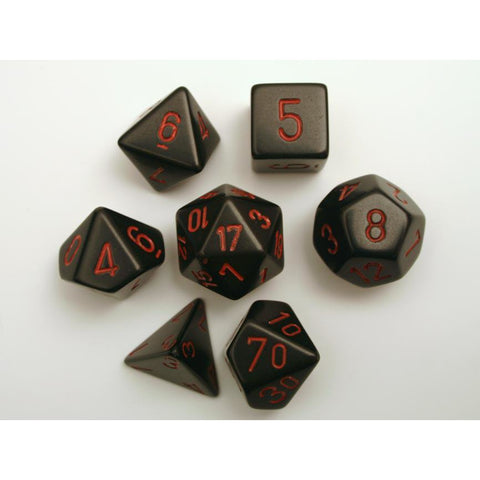 CHESSEX 7-DIE SET: BLACK/RED