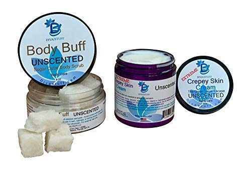 Diva Set, Extreme Crepey Skin Cream & Scrub With Hyaluronic Acid, Unscented