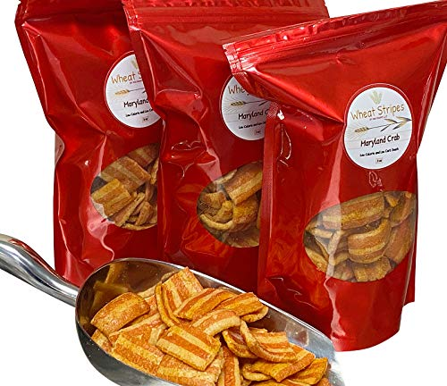Wheat Stripes Low Calorie, Low Carb, Keto, Low Fat Gourmet Snack Chips, 3 oz - Maryland Crab, 3 Pack