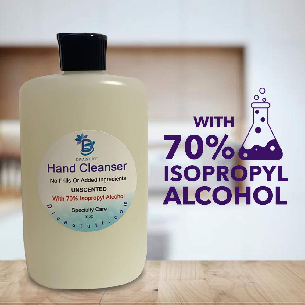 Waterless Hand Cleanser in 8 oz Bottle, Made in USA (Unscented, 1 count) - Packaging may vary