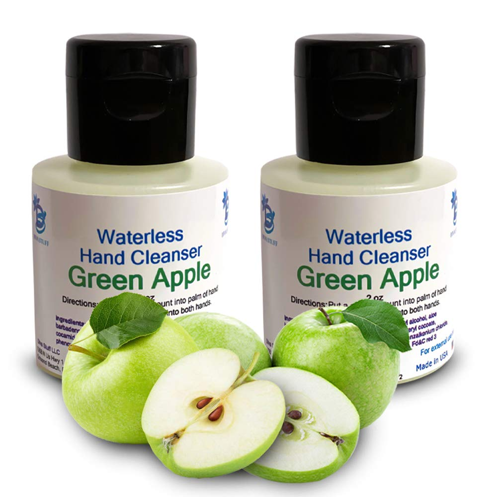 Waterless (No Water Needed for Rinsing) Hand Cleanser (Green Apple) - 2 Pack