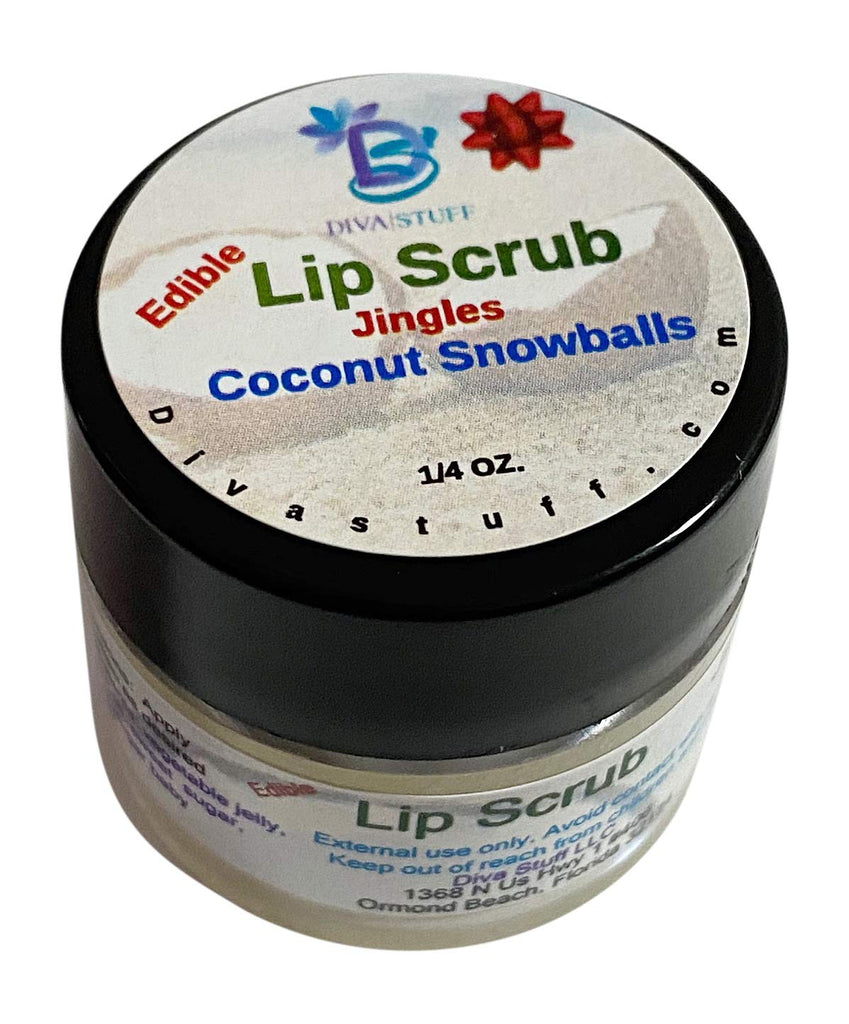 Diva Stuff Ultra Hydrating Lip Scrub for Soft Lips, Gentle Exfoliation, Moisturizer & Conditioner, ¼ oz - Made in the USA (JIngles Coconut Snowball)