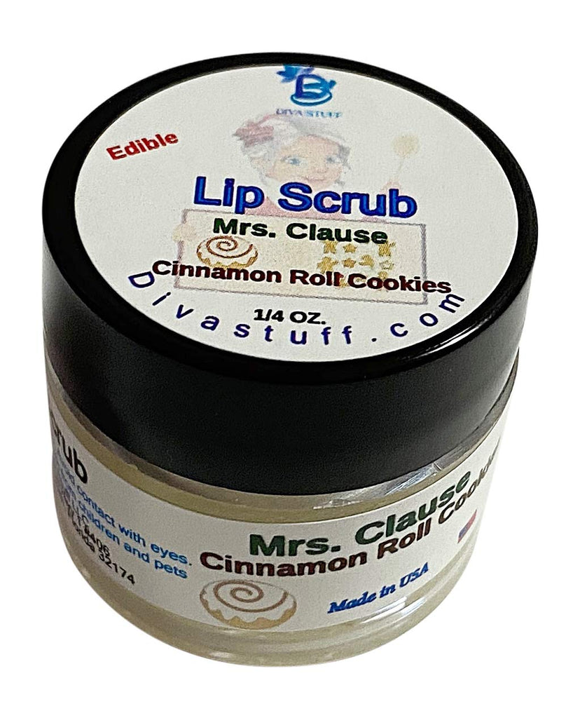 Diva Stuff Ultra Hydrating Lip Scrub for Soft Lips, Gentle Exfoliation, Moisturizer & Conditioner, ¼ oz - Made in the USA (Mrs. Clause Cinnamon Roll Cookie)