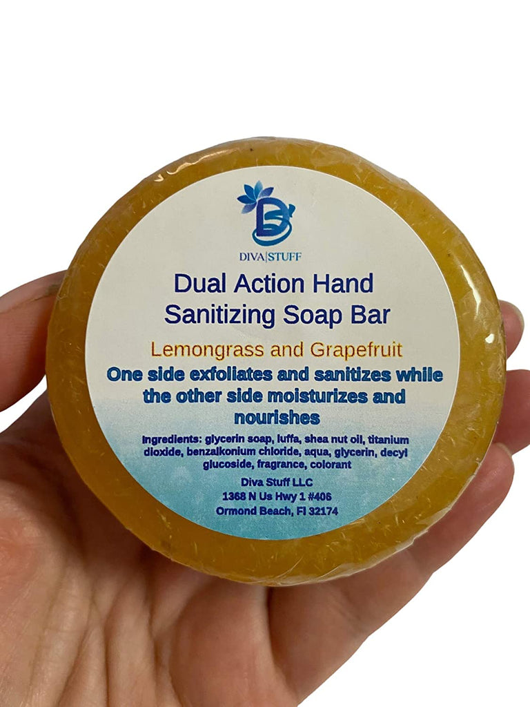 Diva Stuff Dual Action Hand Sanitizing Soap Bar, Lemongrass and Grapefruit Scent (Pack of 2)