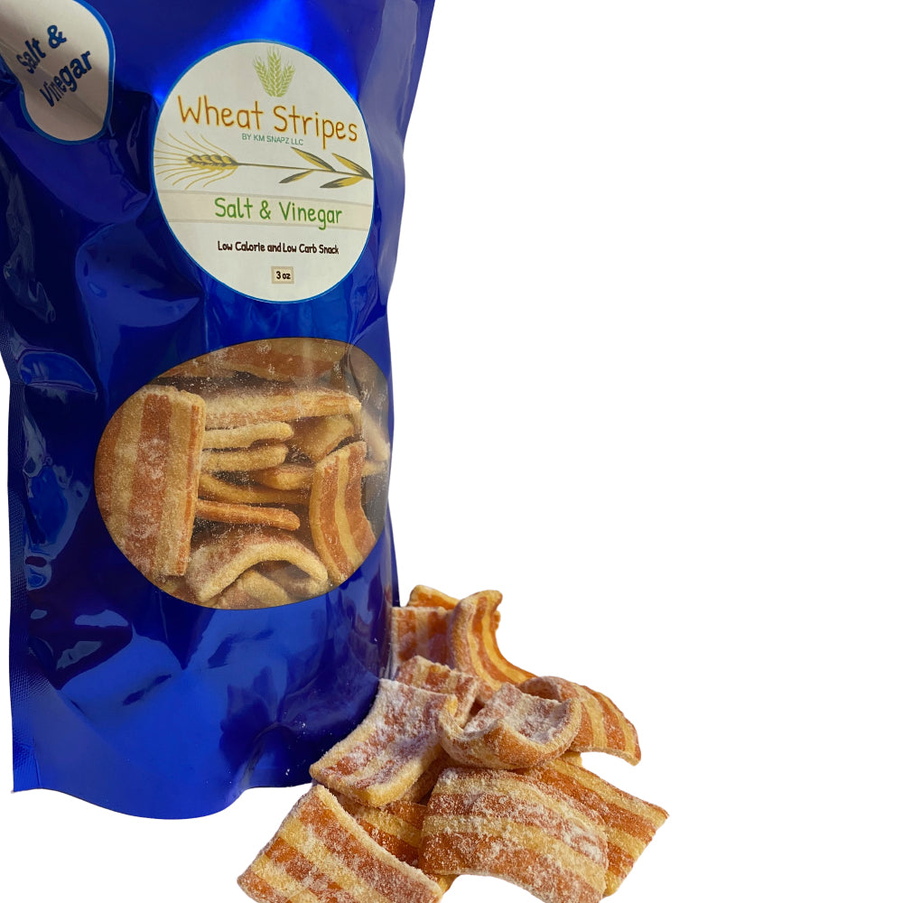 Wheat Stripes Low Calorie, Low Carb, Keto, Low Fat Gourmet Snack Chips, 3 oz - Salf & Vinegar, 1 Pack