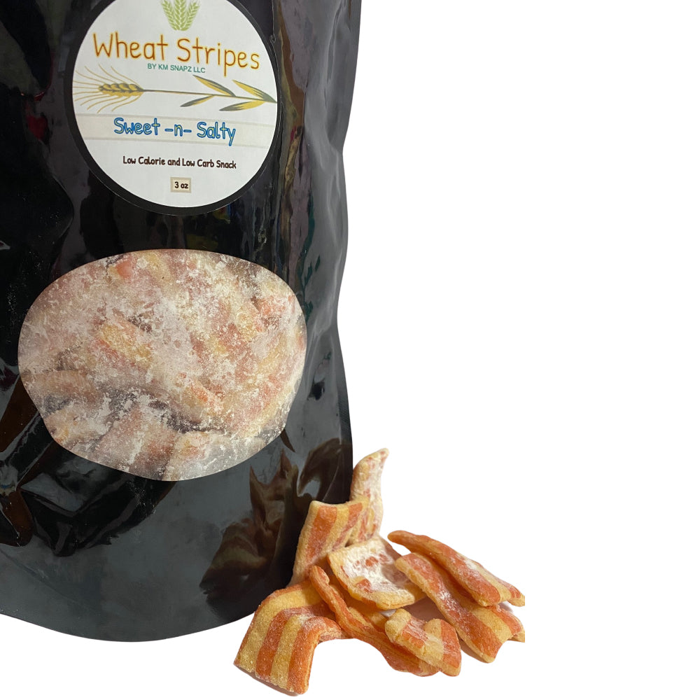 Wheat Stripes Low Calorie, Low Carb, Keto, Low Fat Gourmet Snack Chips, 3 oz - Sweet and Salty, 1 Pack